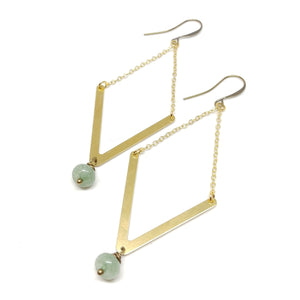 "Oasis Earrings, 3 1/2"" long, gold-plated chain, brass V, aventurine drop"