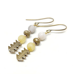 "Badlands Earrings, 1 3/4"" long, Phoenix Agate, Yellow Jade (dyed), Hematite, Brass."