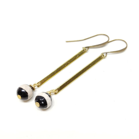 Hawk Canyon Earrings, black and white dzi beads, brass bars