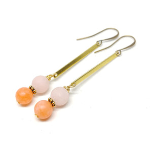 Desert Sunset Earrings, Tangerine and Pale Peach Jade (both dyed), raw brass