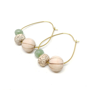 Barrel Cactus Hoops, raw brass oval hoops, wood bead, bodhi seed bead, aventurine bead