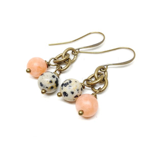 Desert Wildflower Earrings, dangle earring, tangerine jade, dalmatian jasper, brass chain and ear wires