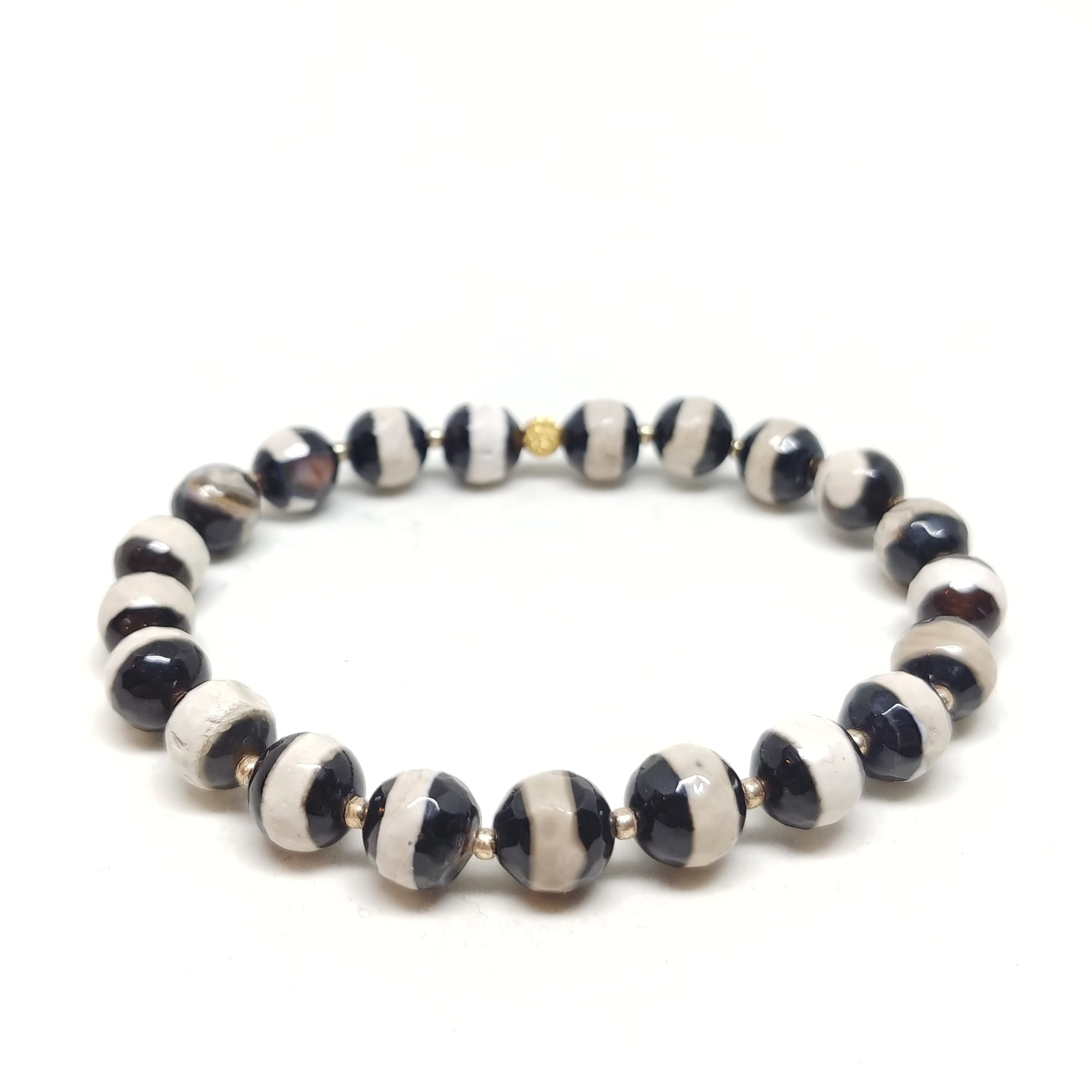 Slot Canyon stretch bracelet, black and white dzi agate beads with gold spacer beads, 7 1/2""
