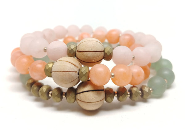 Saguaro stretch bracelet pictured with Cactus Flower and Prickly Pear Bracelets