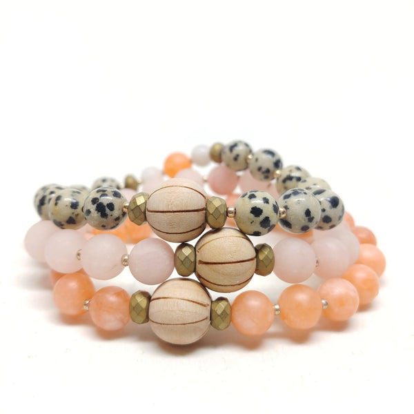 Coyote Canyon stretch bracelet stacked with Prickly Pear and Cactus Flower bracelets.