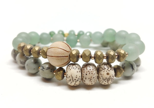 Saguaro stretch bracelet pictured with Ocotillo Bracelet