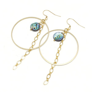 Abalone hoop earrings, raw brass hoops, gold chain fringe, gold plated ear wires, fringe benefits collection