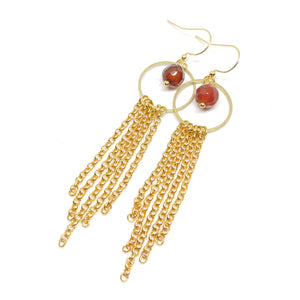 Carnelian hoops, gold-plated chain fringe, raw brass, carnelian beads, fringe benefits collection