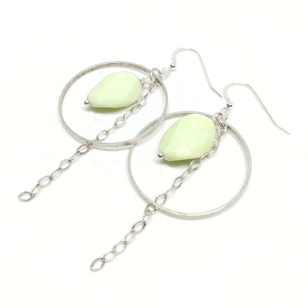 Lemon chrysoprase silver hoops, sterling silver chain and ear wires, fringe benefits collection