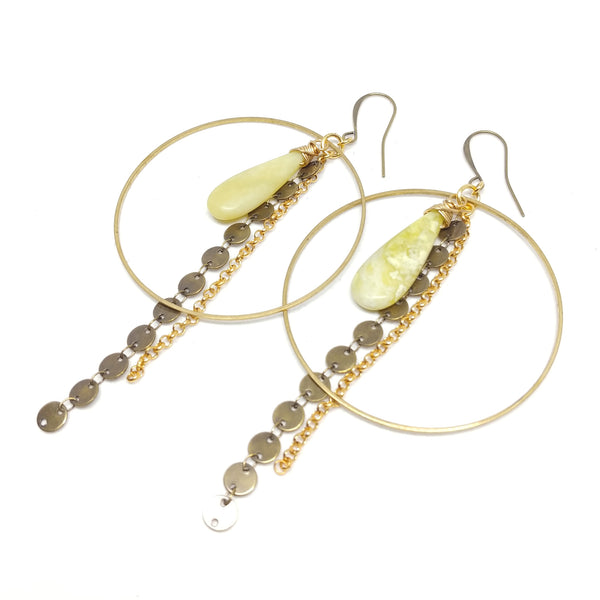 Green stone teardrop statement hoops with chain fringe, raw and antique brass, gold-plating, fringe benefits collection