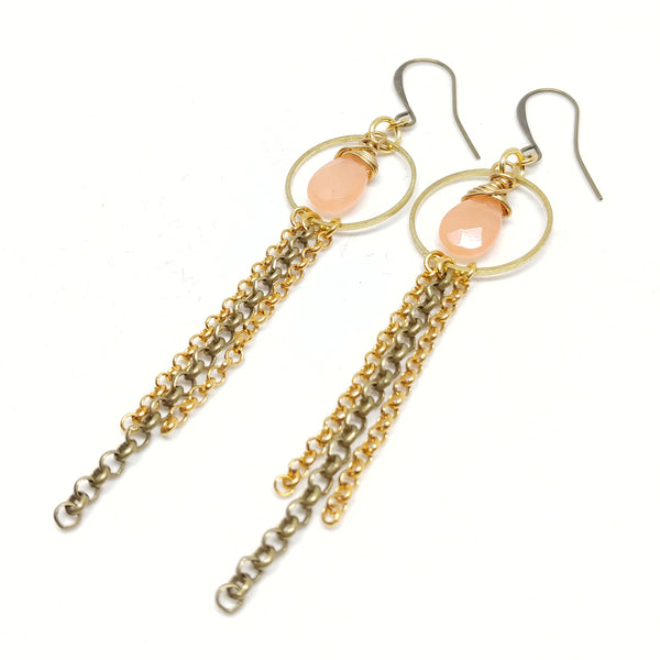Jade Mixed Metal Hoops with chain fringe, raw and antique brass, gold-plated chain, peach jade, fringe benefits earrings