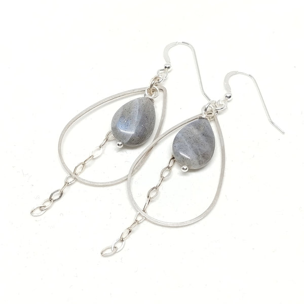 Sterling Silver ear wires and chain, Silver-Plated hoops, Labradorite, Fringe Benefits Collection.