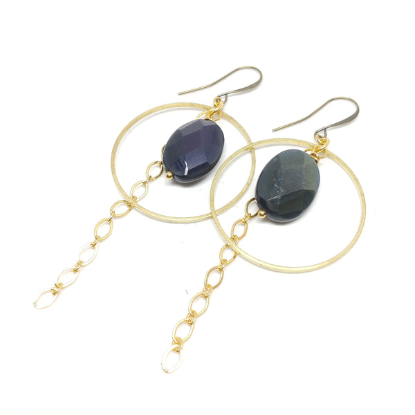 Obsidian Hoops, Gold-Plated ear wire and chain, Raw Brass hoop, Obsidian, Fringe Benefits Collection.