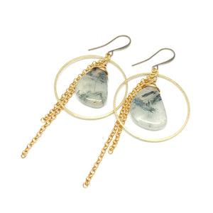 Prehnite hoops, Raw Brass ear wires and hoops, Gold-Plated Chain, Prehnite, Fringe Benefits Collection.