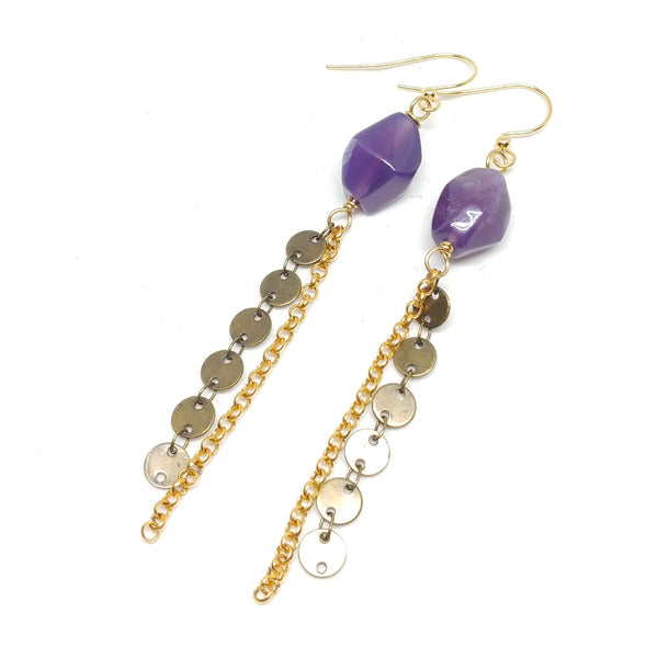 Purple Fringe Earrings, Gold-Plated ear wire and chain, Antique Brass disc chain, Purple Agate, Fringe Benefits Colleciton.