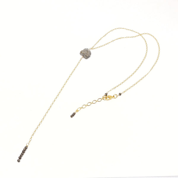 RAW Pyrite Lariat Necklace