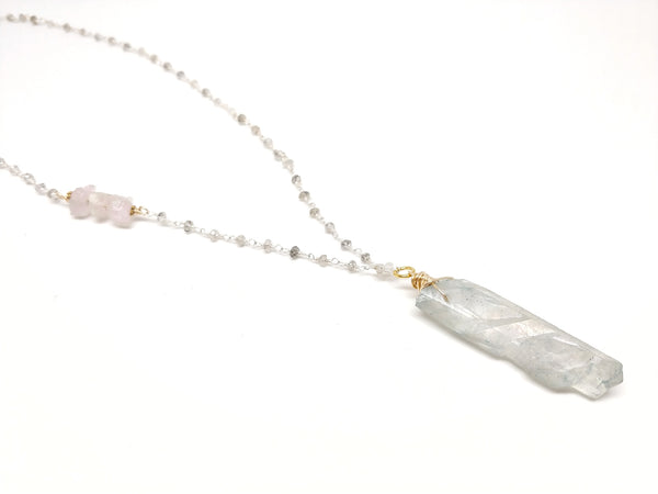RAW Blue Aura Quartz Necklace