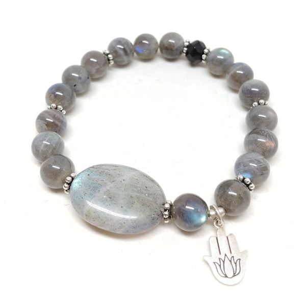 Labradorite & Hamsa with Lotus