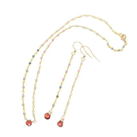 Heart's Desire Valentine's Day Gift Set; Vermeil Tourmaline Chain Necklace with Tiny Faceted Garnet Centerpiece; Delicate Tourmaline Chain Earrings with Garnet Drops
