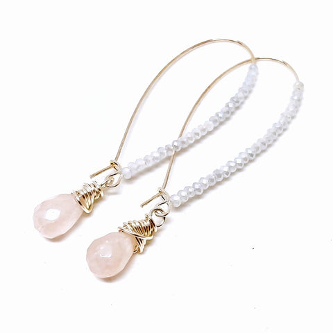 Signature Style Angelic Earrings Rose Quartz Icicle Crystals