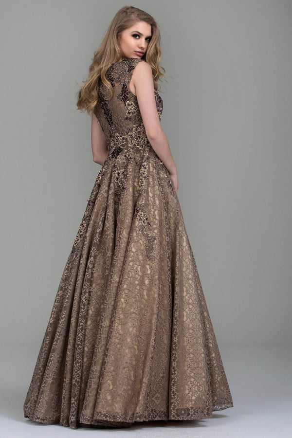 Jovani Taupe Embroidered Lace A-Line Evening Gown - Style IND0155877