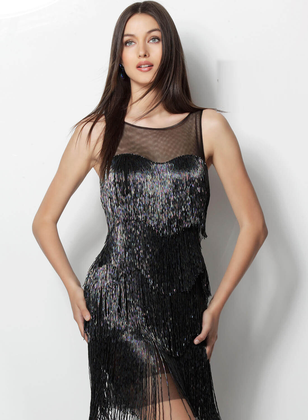Jovani Black Multi Sheer Neck Fringed Short Dress - Style INDO0161949