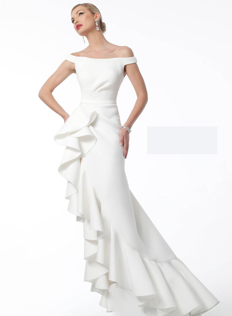 Jovani White Off The Shoulder High Ruffle Slit Evening Dress - Style IND0163586