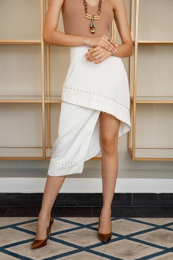 ASYMMETRIC SKIRT-OFF WHITE