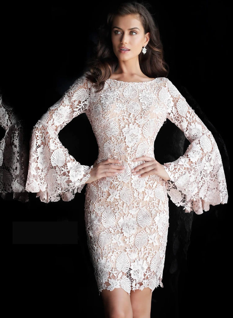 Jovani Blush Bell Sleeve Lace Evening Dress - Style IND0161202