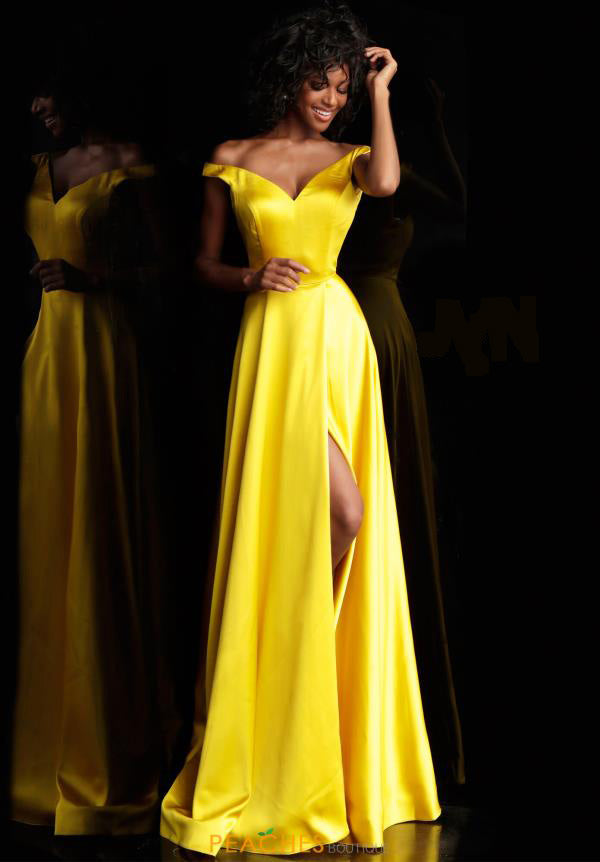 Jovani Yellow Off the Shoulder Prom Dress - Style IND0167752