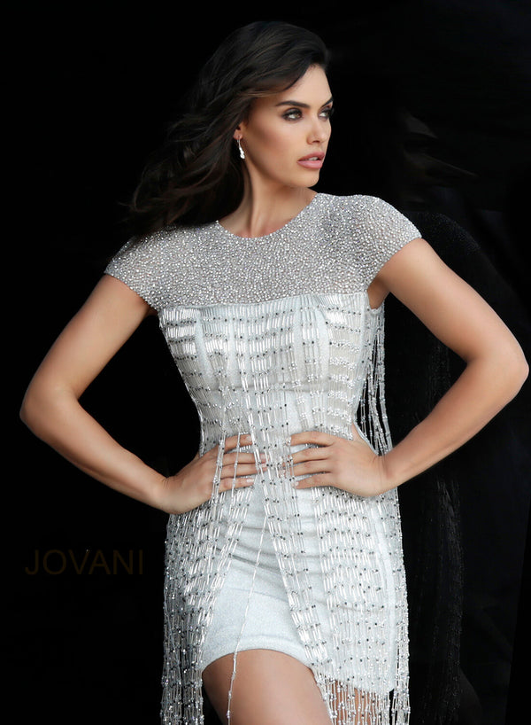 Jovani Silver Fringe Cocktail Dress - Style 61780