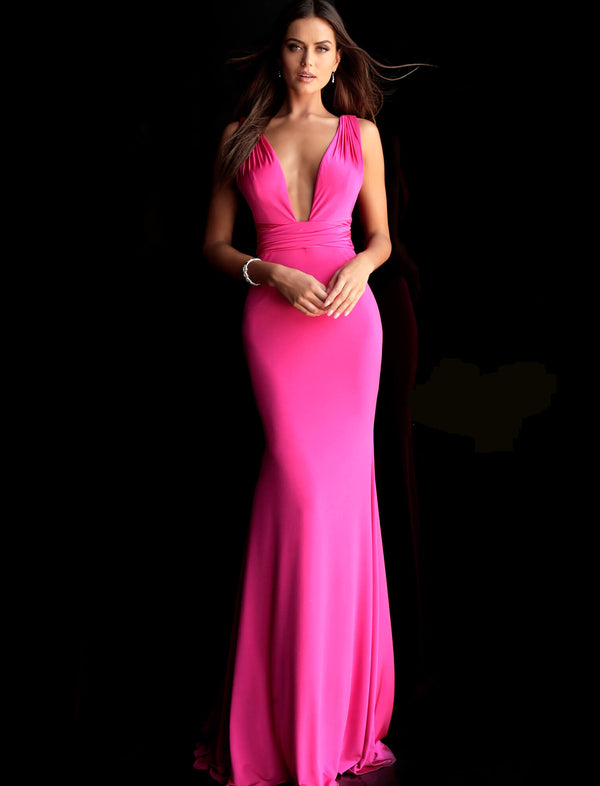 Hot Pink Plunging Neckline Sleeveless Prom Dress INDO0164996