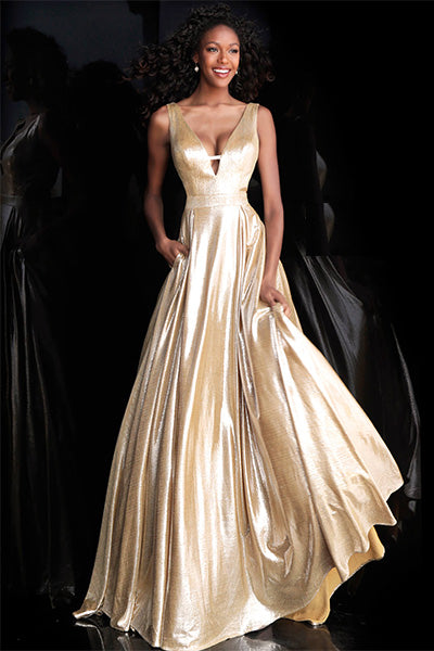 Jovani  Prom Gown with plunging neckline in Metallic Gold - Style IND0166900