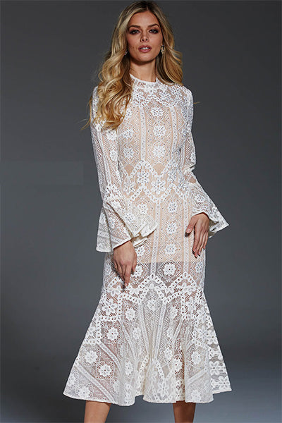 Jovani Ivory Lace Formal Dress - Style 55325