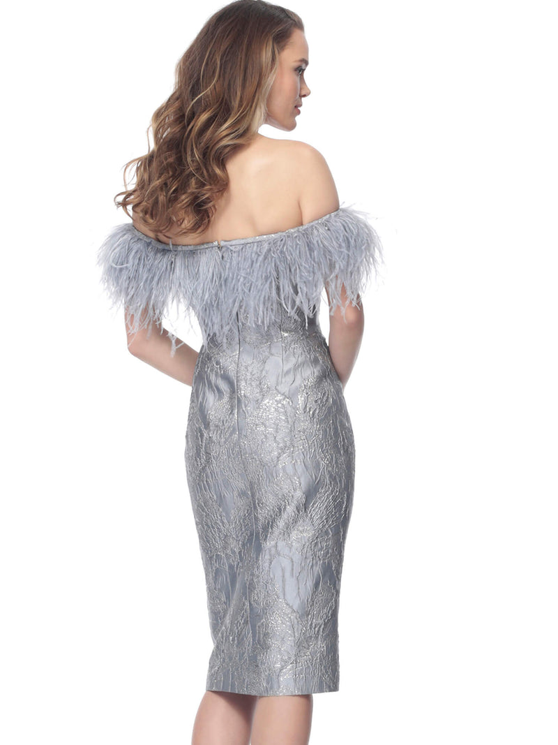 Jovani Feather Neck Knee-Length Dress - Style INDO166239