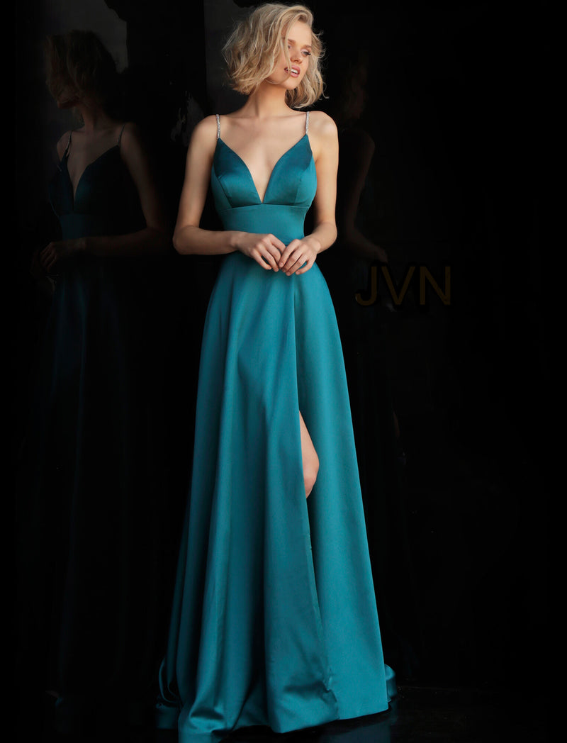 Jovani Spaghetti Straps prom dress in teal - Style IND0168314
