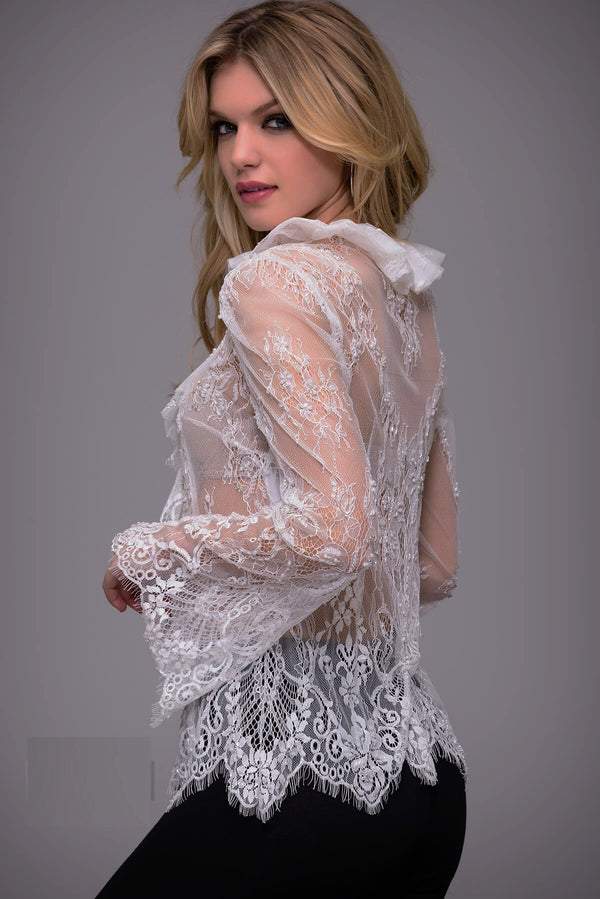 Jovani Long Sleeved Lace Top - Style IND0141635
