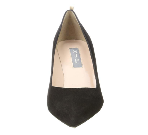 SJP Fawn Black Suede