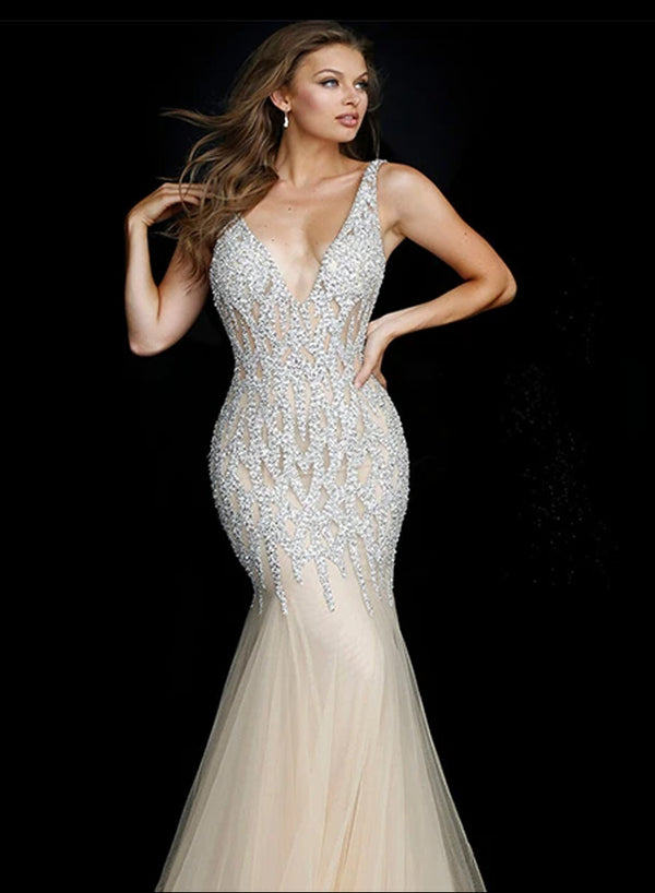 Jovani Nude Silver Crystal Embellished Sleeveless Formal Dress - Style IND0159717