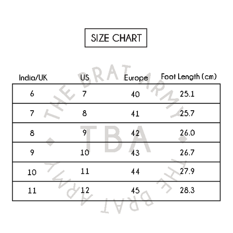 Size chart for men's shoes