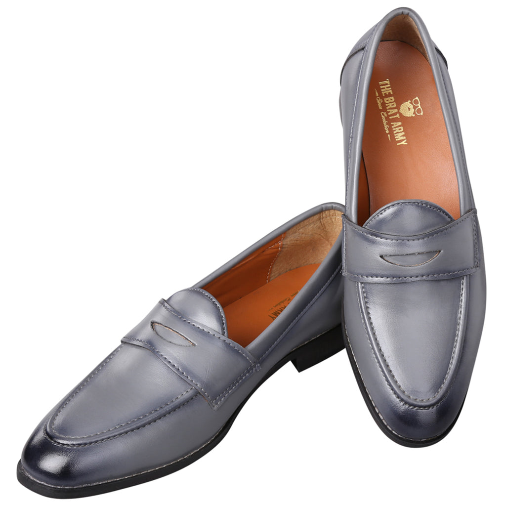 SIENA TIMELESS GREY CLASSIC PENNY LOAFERS