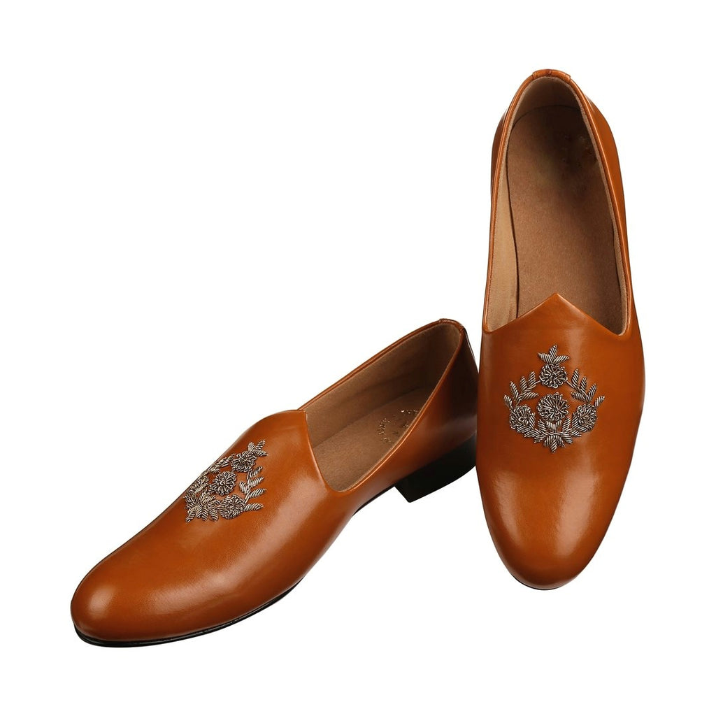 ANZA TAN HAND-EMBROIDERED ETHNIC SLIP-ONS