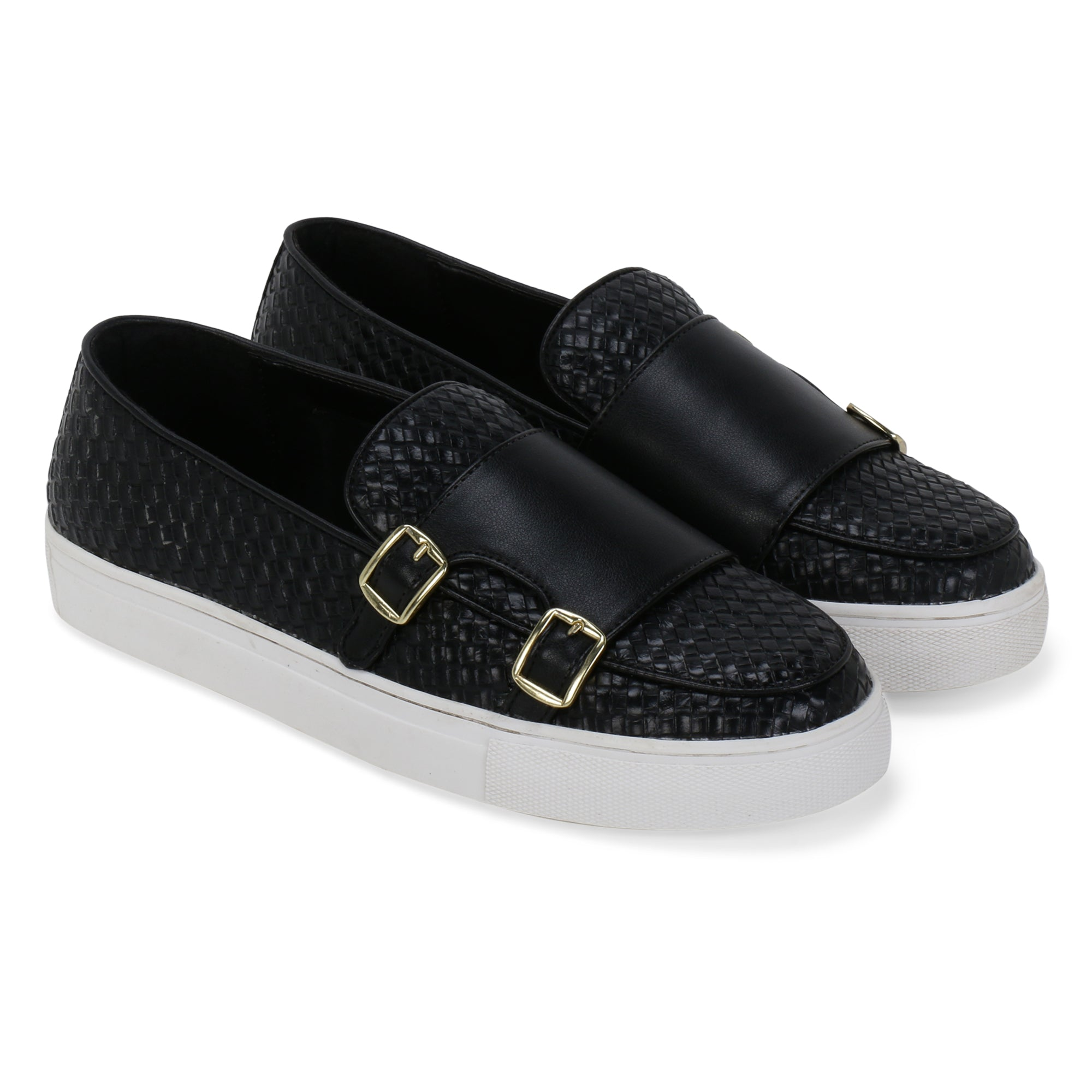 MADISON BLACK DOUBLE MONK BRAIDED SNEAKER
