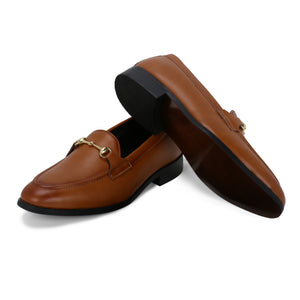 HENLEY TAN HORSEBIT BUCKLE LOAFERS.