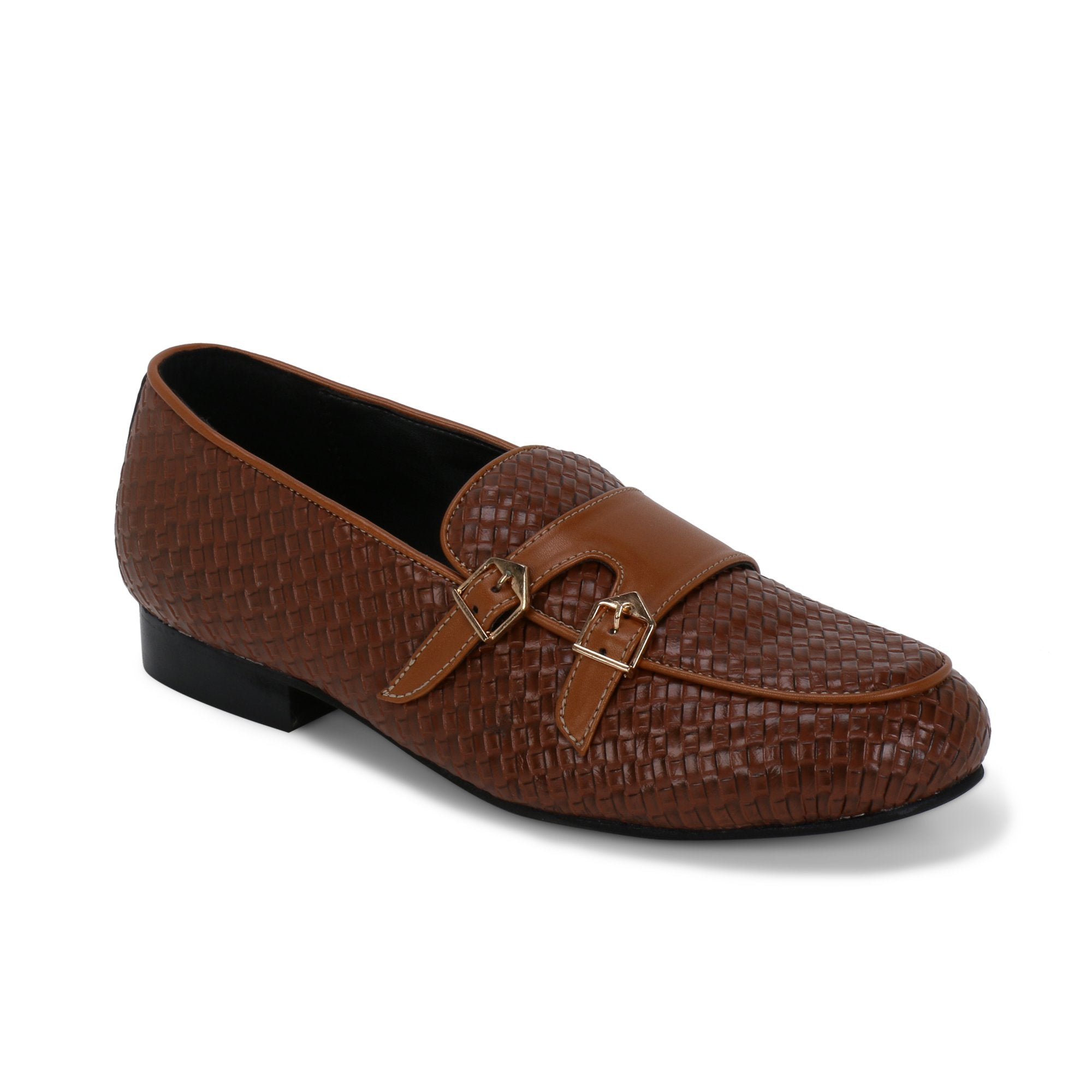 BELLO TAN BRAIDED DOUBLE MONK LOAFERS