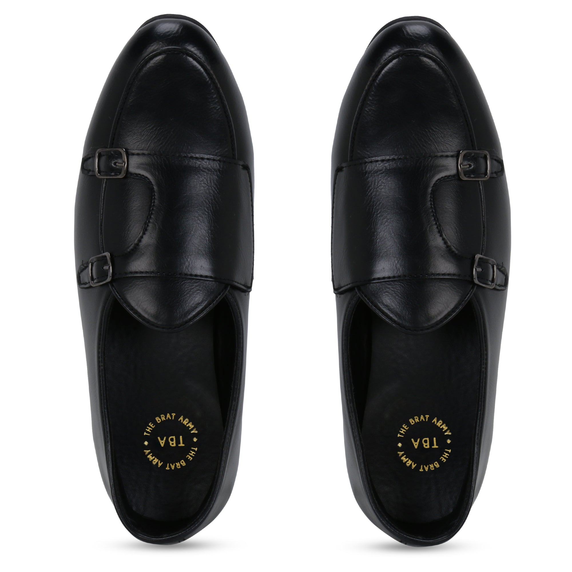 BELLO BLACK DOUBLE MONK LOAFERS