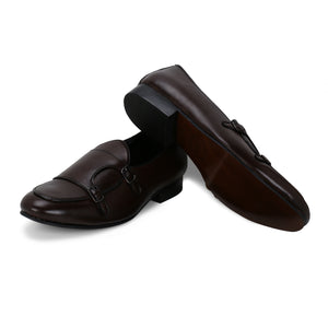 BELLO BROWN DOUBLE MONK LOAFERS