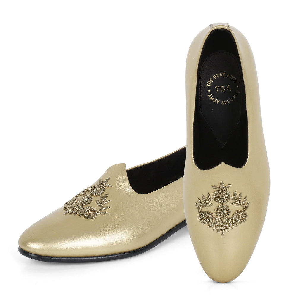 ANZA GOLD HAND-EMBROIDERED ETHNIC SLIP-ONS