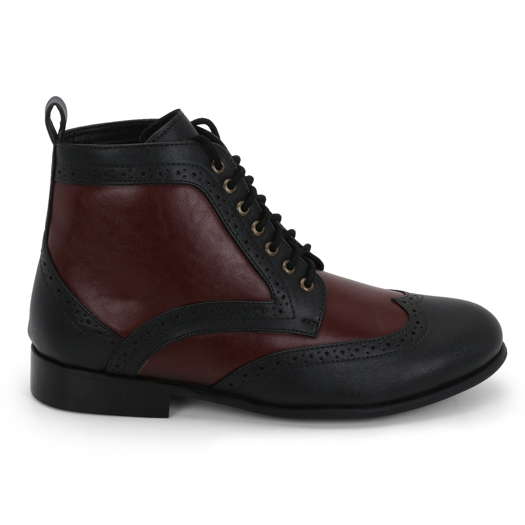 DAYTON BLACK/MAROON BROGUE BOOTS