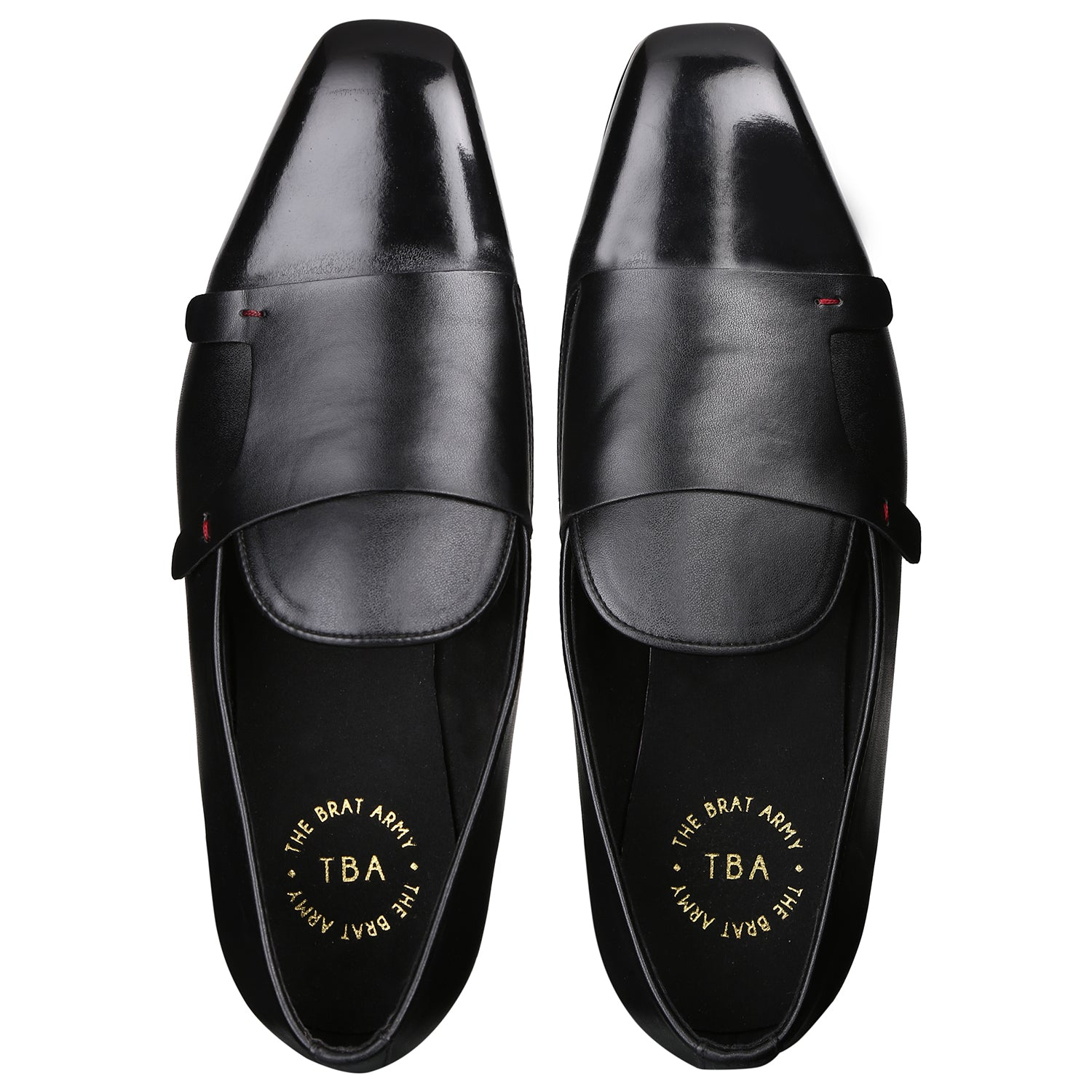 BELLO SQUARE BLACK DOUBLE MONK LOAFERS